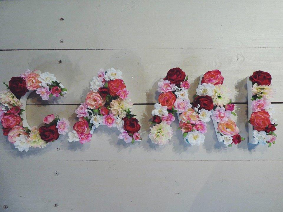 Réalisation de lettres fleuries