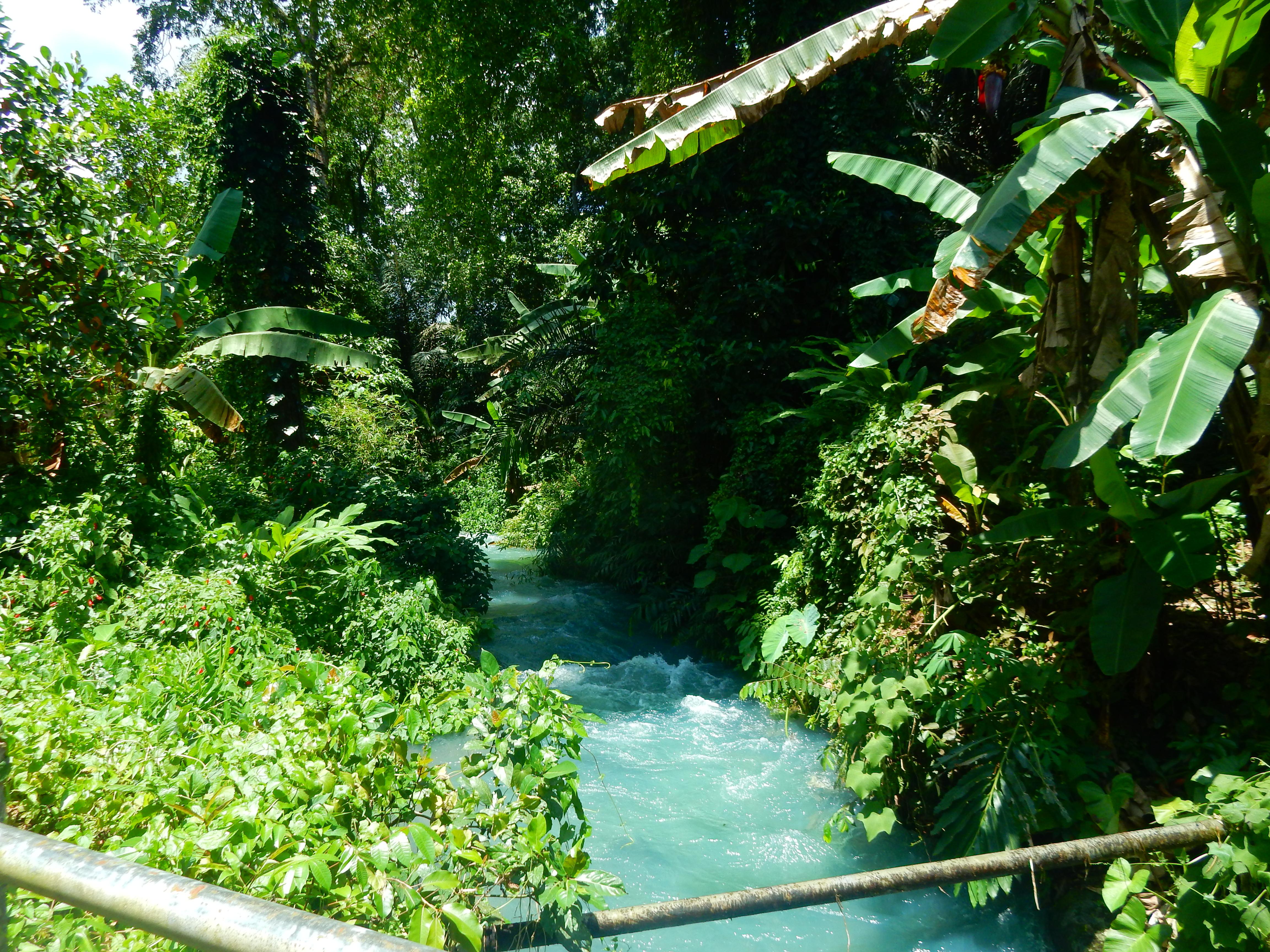 Eau de souffre des cascades de Sesaot, Lombok, Indonésie.