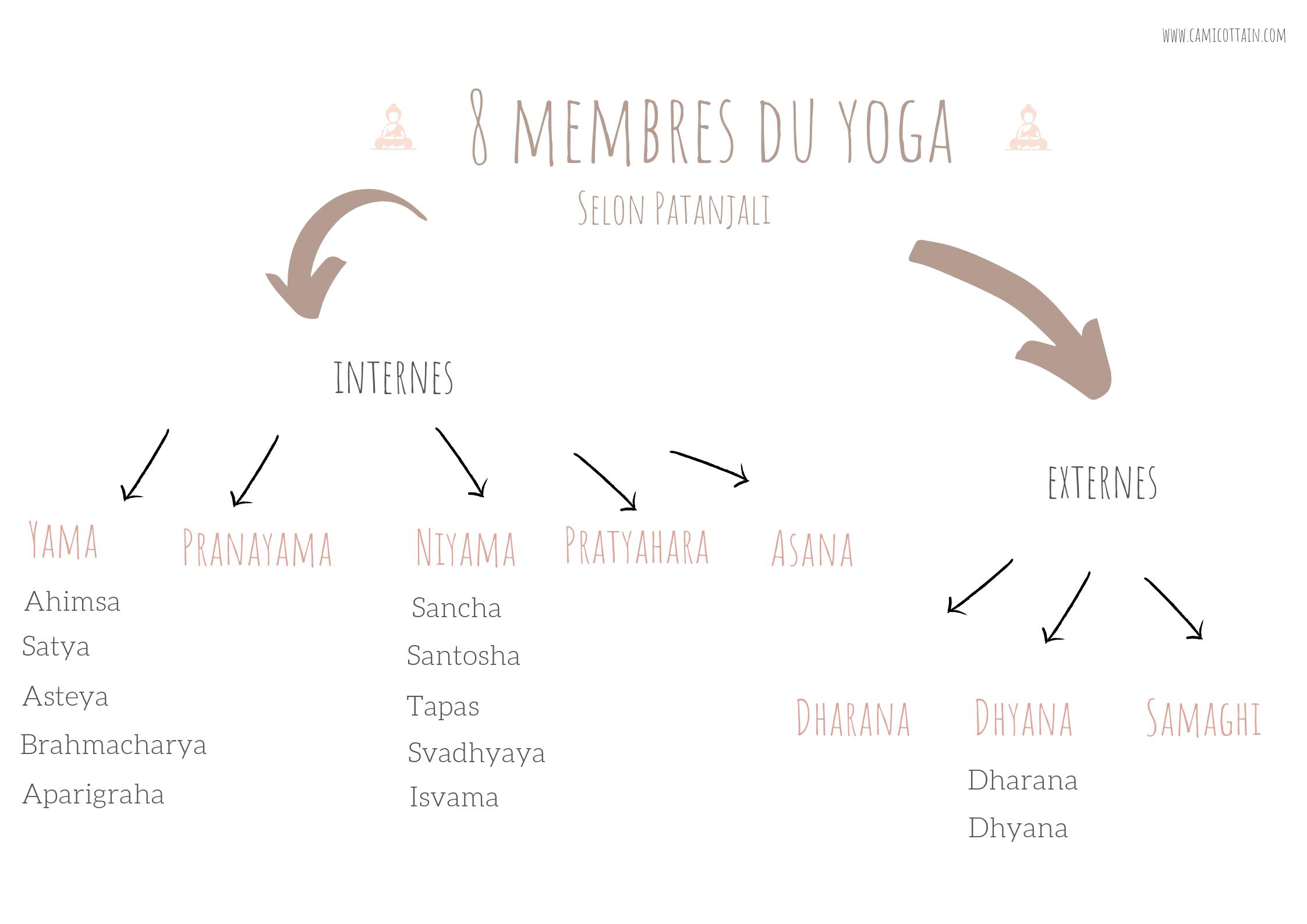 les 8 membres du yoga selon Patanjali. Membres internes et externes.