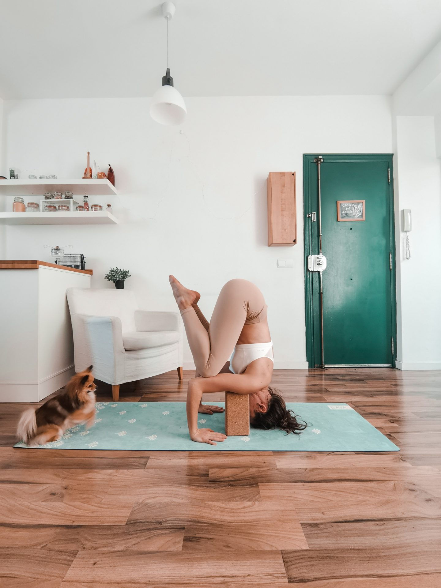 Sirsasana, headstand avec des blocs de yoga